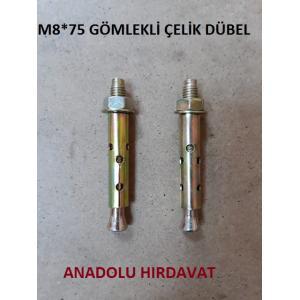 ÇELİK DÜBEL M8*75 MM GÖMLEKLİ ÇELİK DÜBEL 4 ADET GÖNDERİLİR