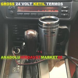 GROSS 24 VOLT ARAÇ TERMOSU ÇAY KAHVE KETIL TERMOSU KROM