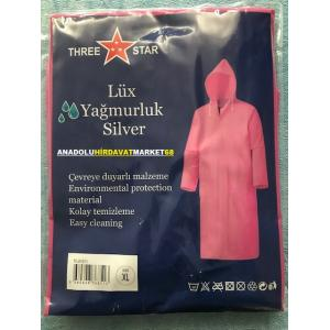 THREE STAR PVC YAĞMURLUK PEMBE RENK YAGMURLUK XL MODEL