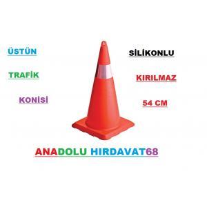 ÜSTÜN TRAFİK KONİSİ 54 CM SİLİKON PLASTİK OTOPARK DUBA DELİNATÖR